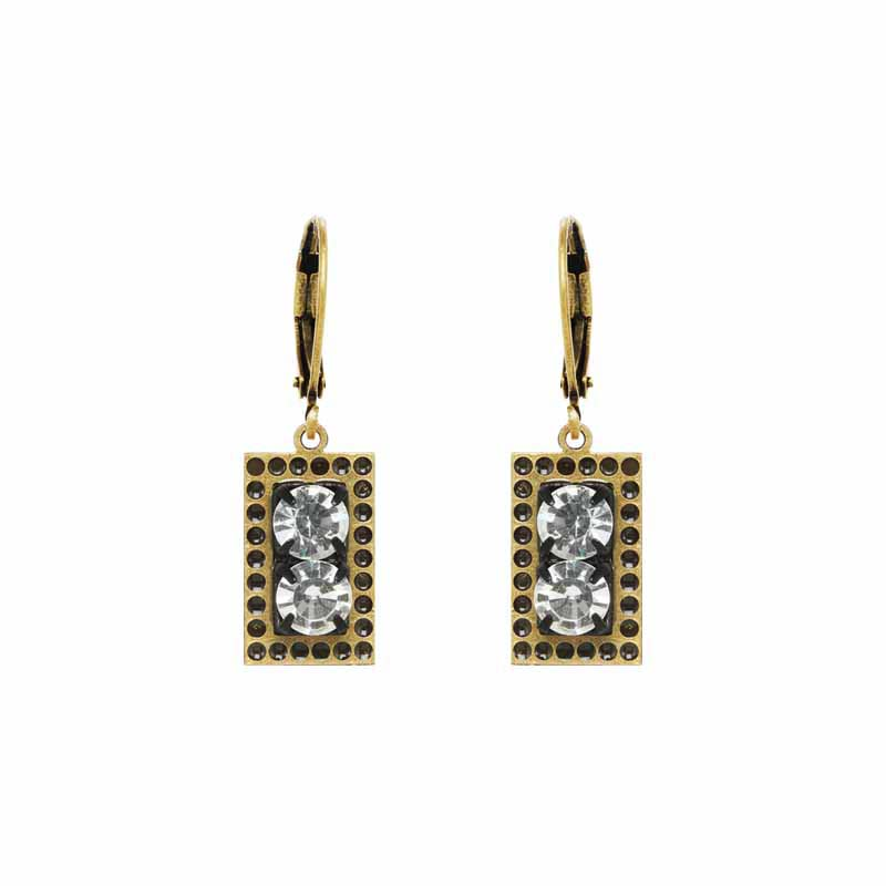 Rectangle Double Clear Crystals Earrings