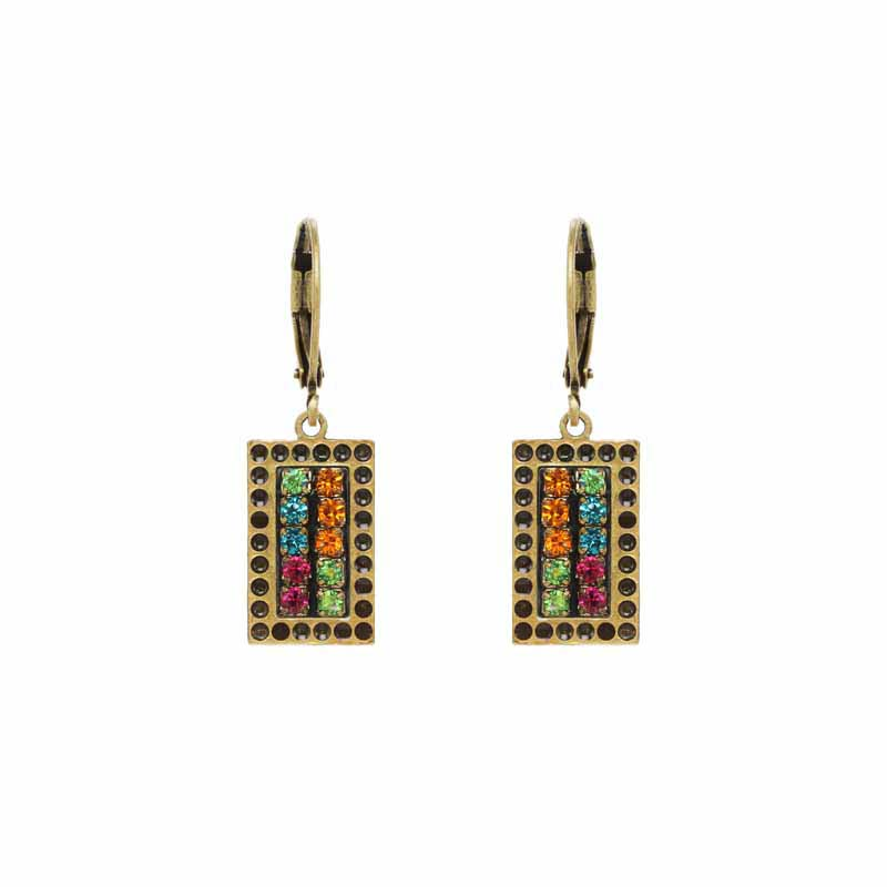 Rectangle Double Multicolor Crystal Earrings