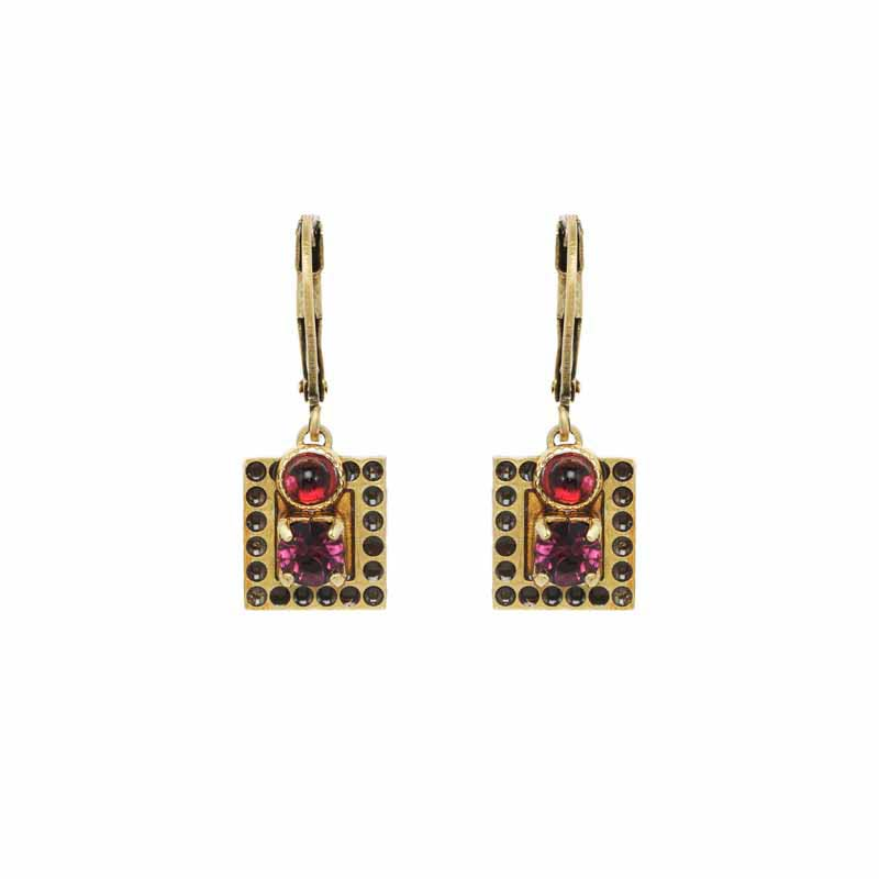 Small Claret Square Garnet Earrings