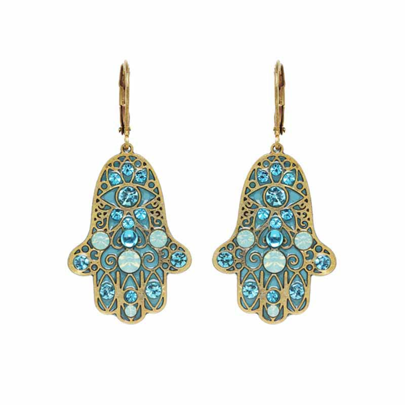 Aqua Hamsa Earrings