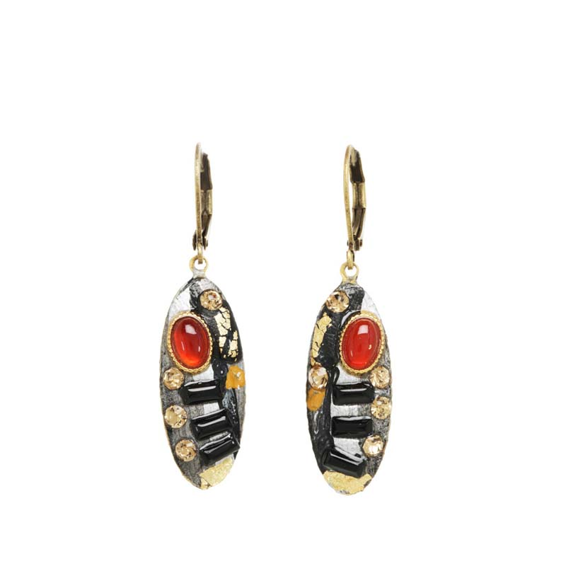 Abstract Oval Drop Earrings