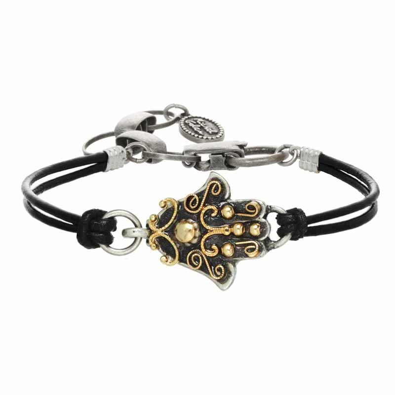 Black and Gold Hamsa Bracelet