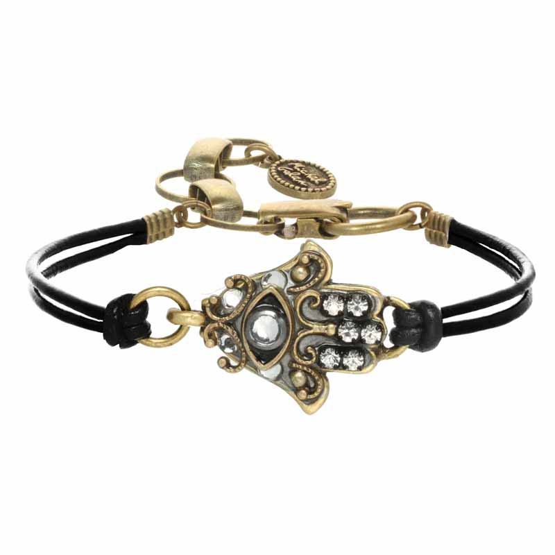 Gold Crystal Eye Hamsa Bracelet
