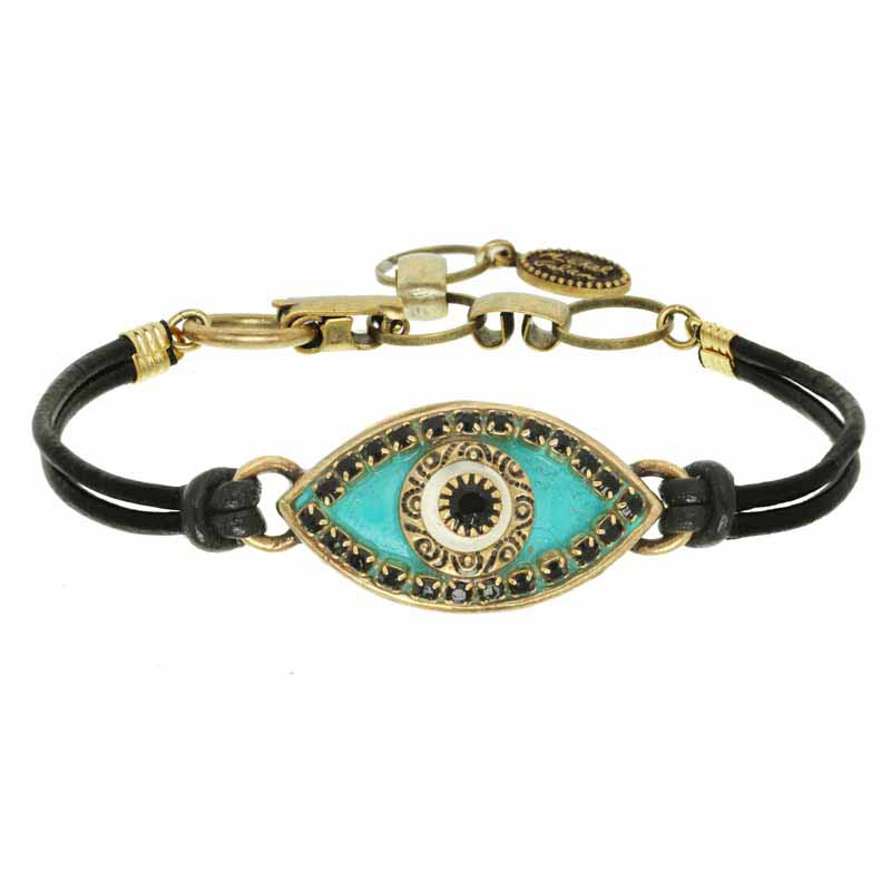 Turquoise and Black Evil Eye Bracelet