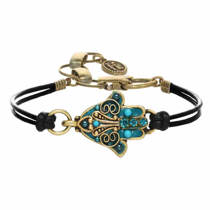 Ornate Turquoise and Gold Hamsa Bracelet