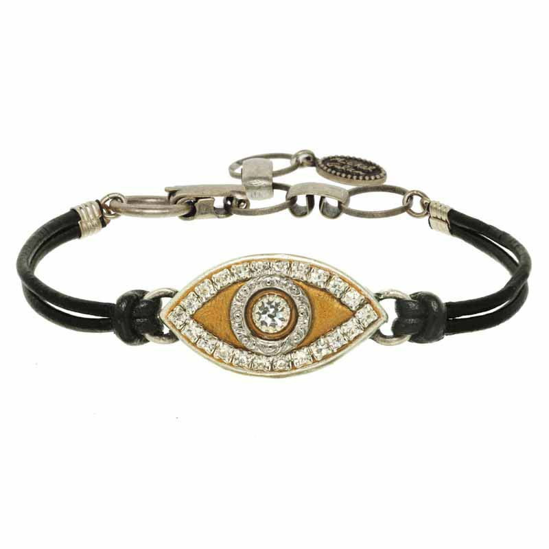 Gold on Silver Evil Eye Bracelet