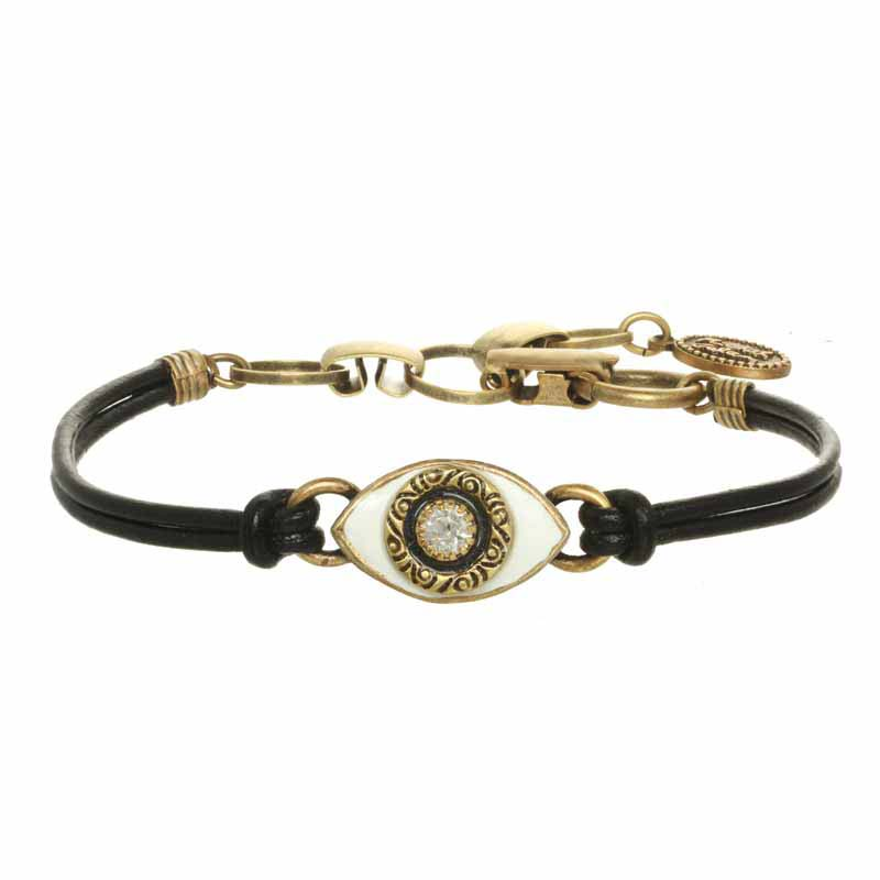 Mini White & Antique Gold Evil Eye Bracelet