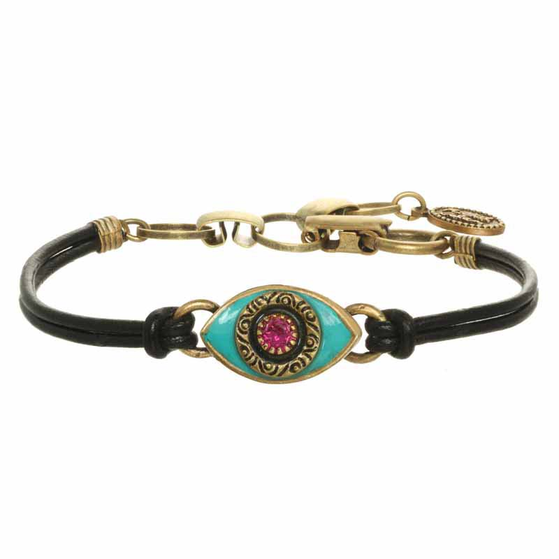 Mini Teal and Pink Evil Eye Bracelet
