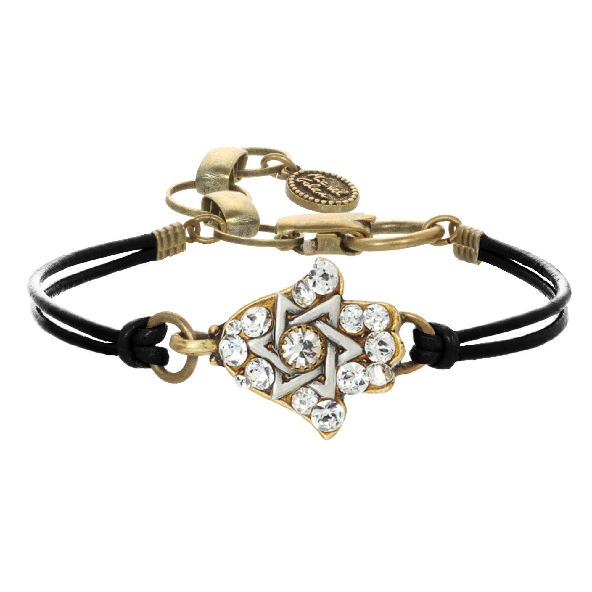 Gold and Crystal Star of David Hamsa Bracelet