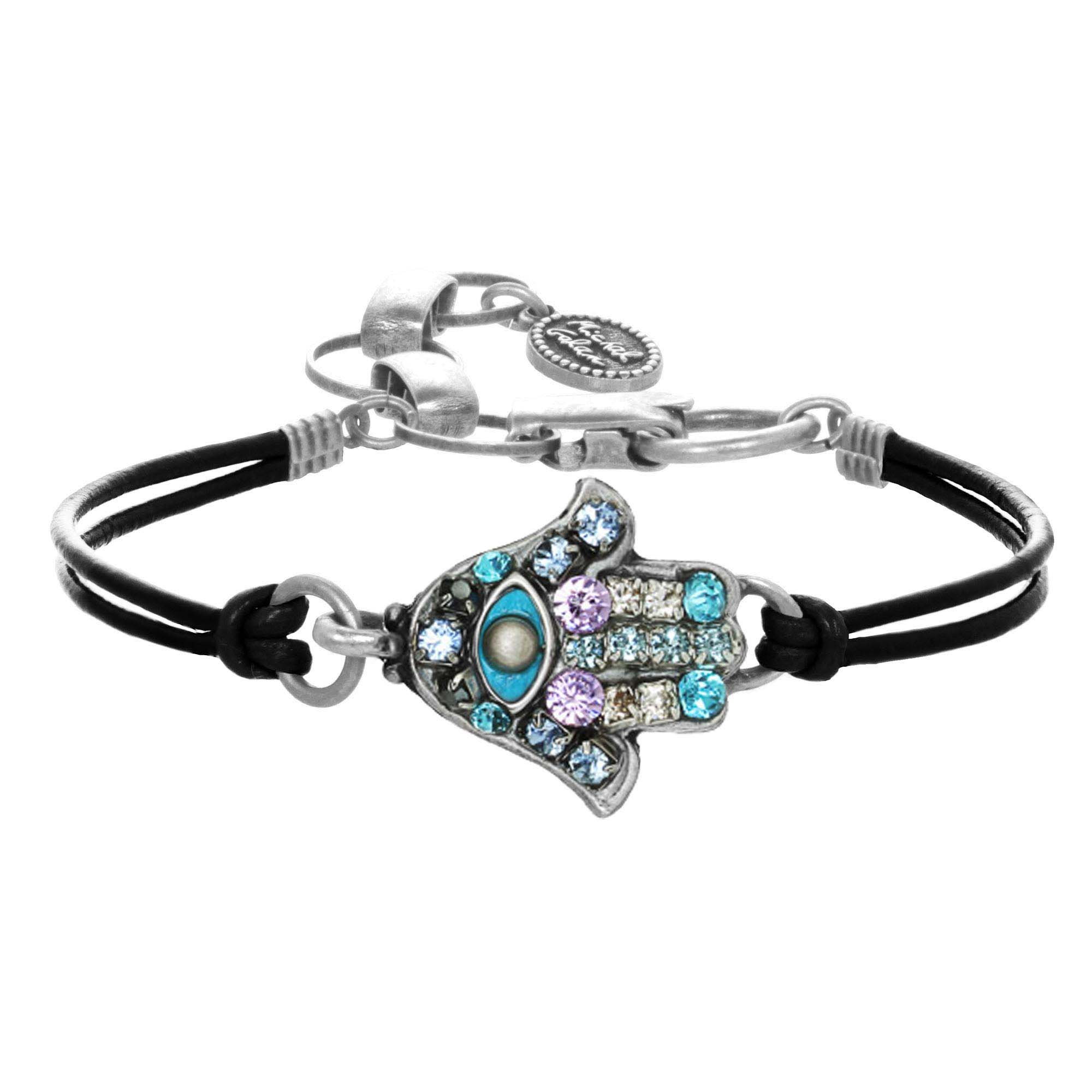 Blue and Crystal Silver Hamsa Bracelet