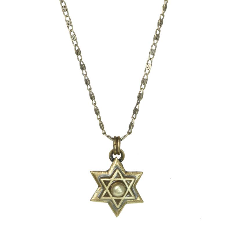 Star of David pendant on chain necklace, handmade at Michal Golan studios USA
