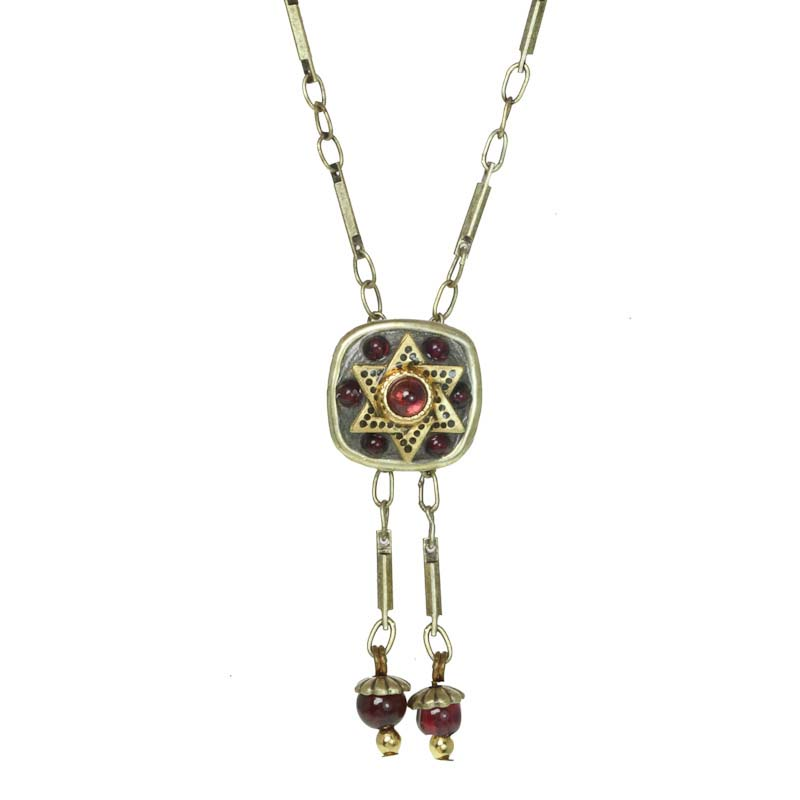 Square pendant Star of David on chain necklace w/ garnet and amethyst, handmade at Michal Golan studios USA
