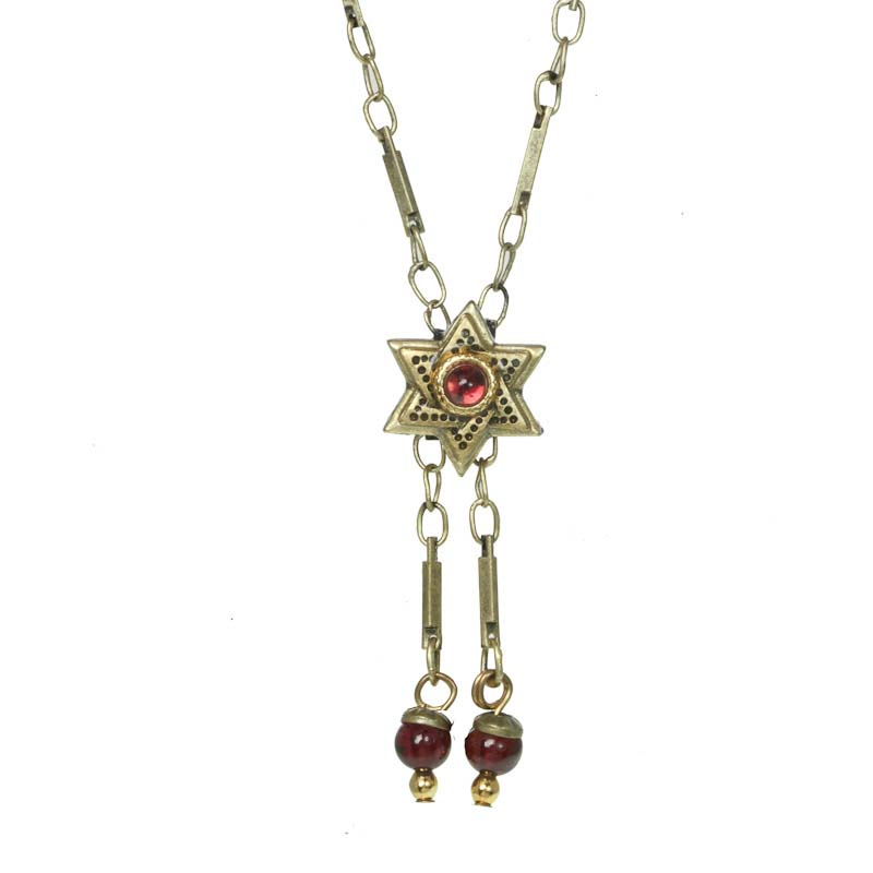 Star of David pendant on chain necklace w/ garnet, handmade at Michal Golan studios USA