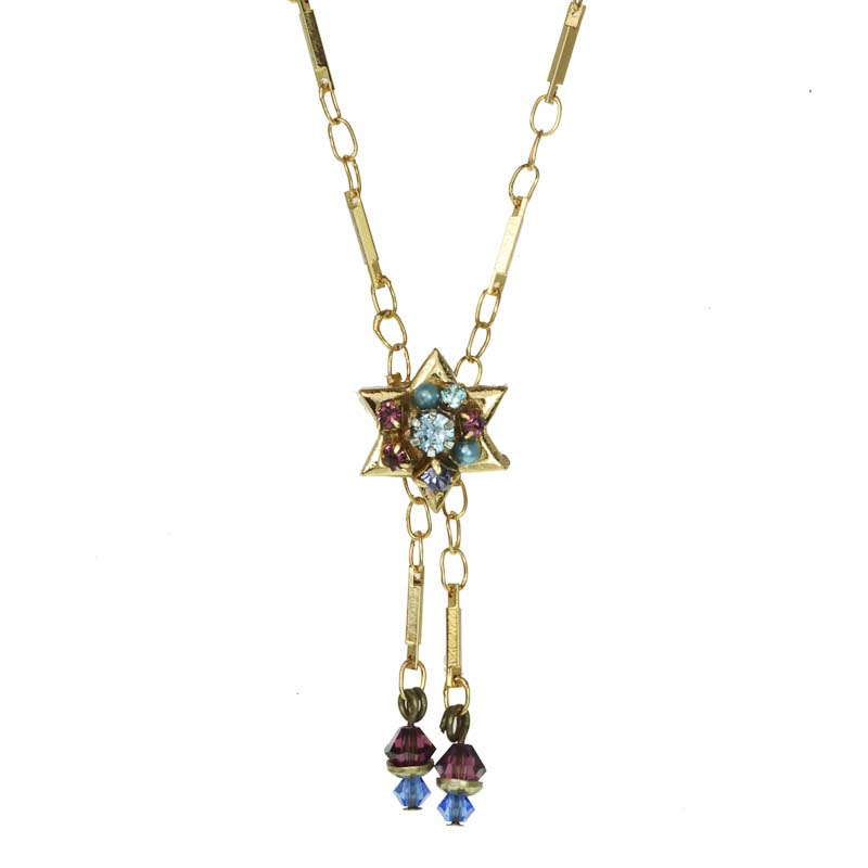 Star of David pendant on chain necklace w/ amethyst, Swarovski crystals, , handmade at Michal Golan studios USA