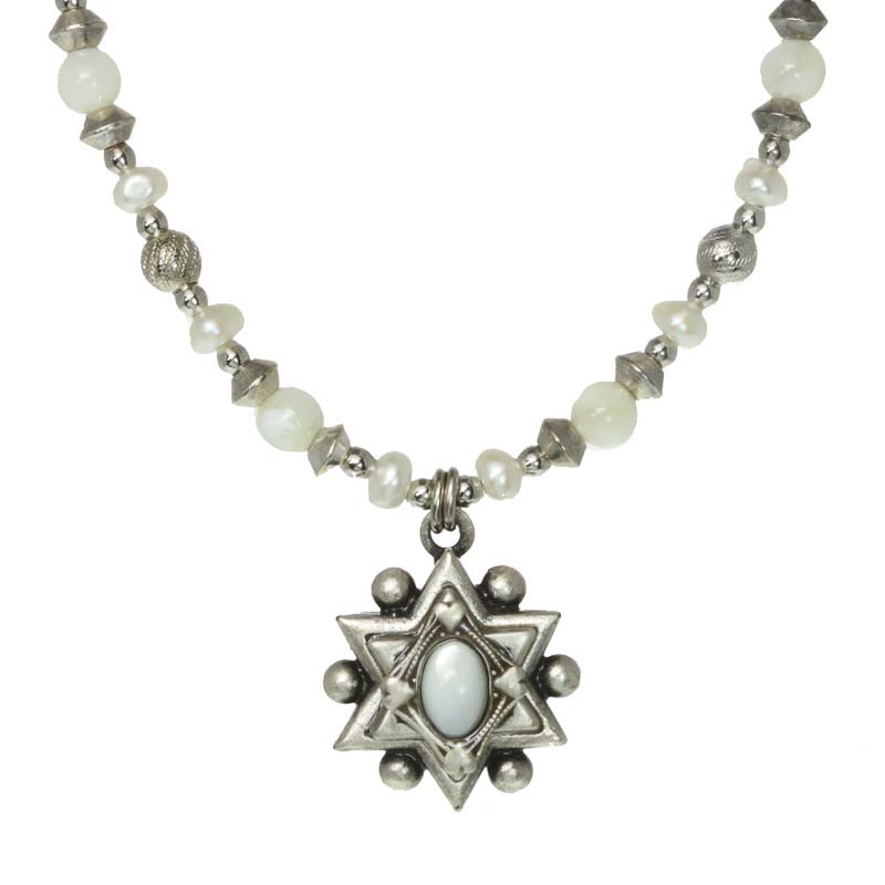 Star of David pendant necklace w/ mother of pearl, handmade at Michal Golan studios USA