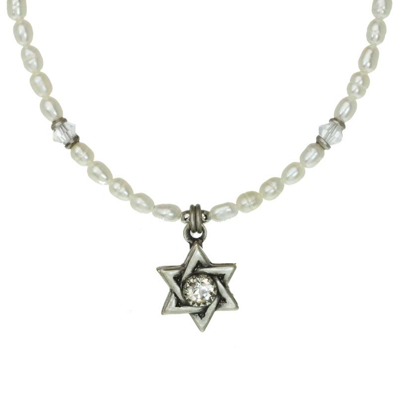 Star of David pendant necklace w/ Swarovski crystal, handmade at Michal Golan studios USA
