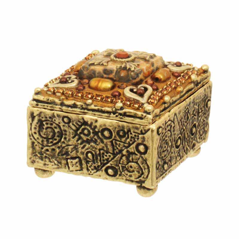 Small leopard skin jasper jewelry box, handmade at Michal Golan studios USA