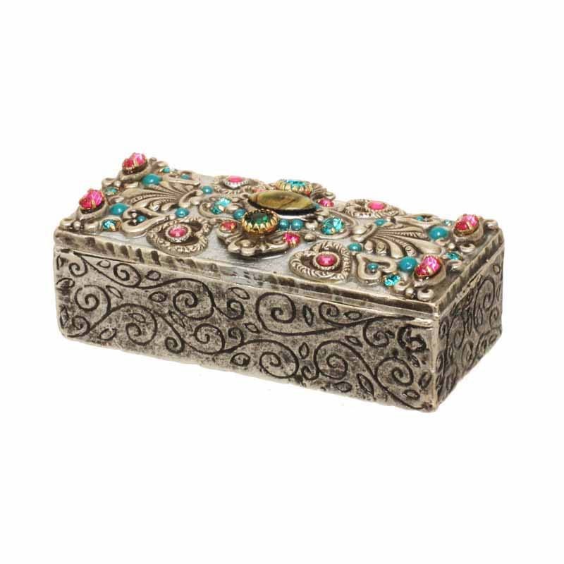 Hearts & flowers small rectangular jewelry box, handmade at Michal Golan studios USA