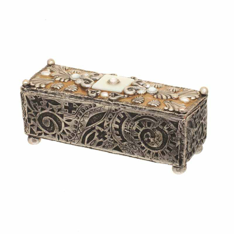Rectangular mother of pearl silver jewelry box, handmade at Michal Golan studios USA