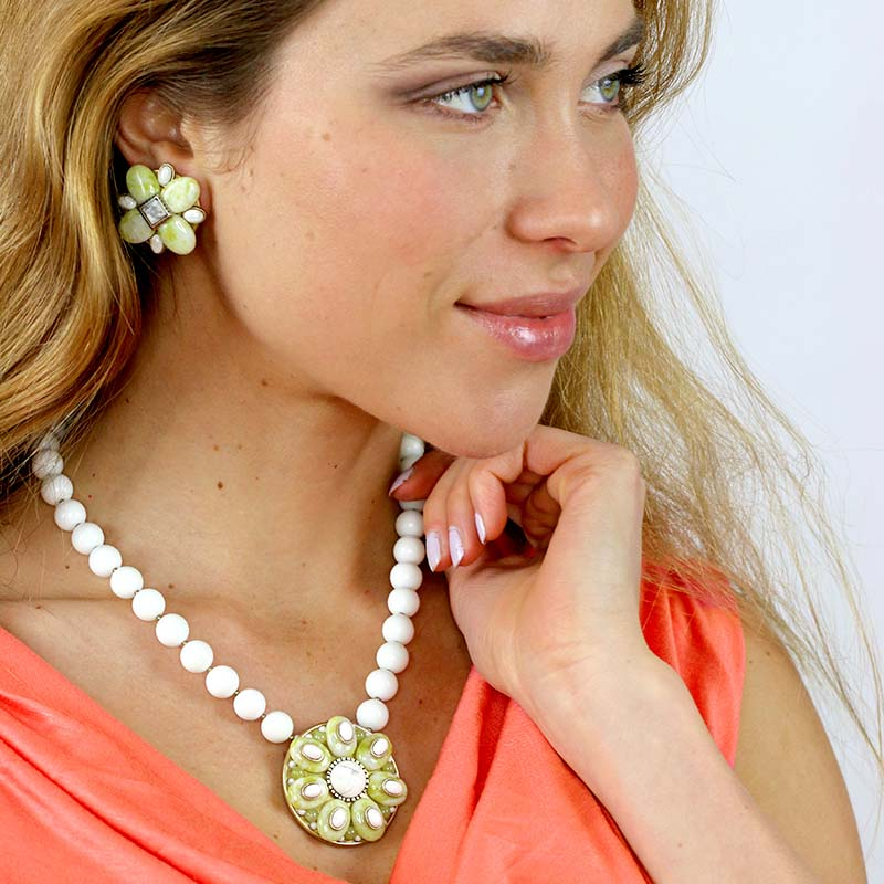 Key Lime Clip Earrings and Necklace Set