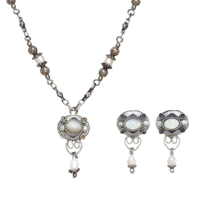 Silver Mother of Pearl Oval Necklace and Earrings Set