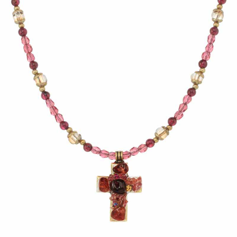 Merlot Cross Necklace