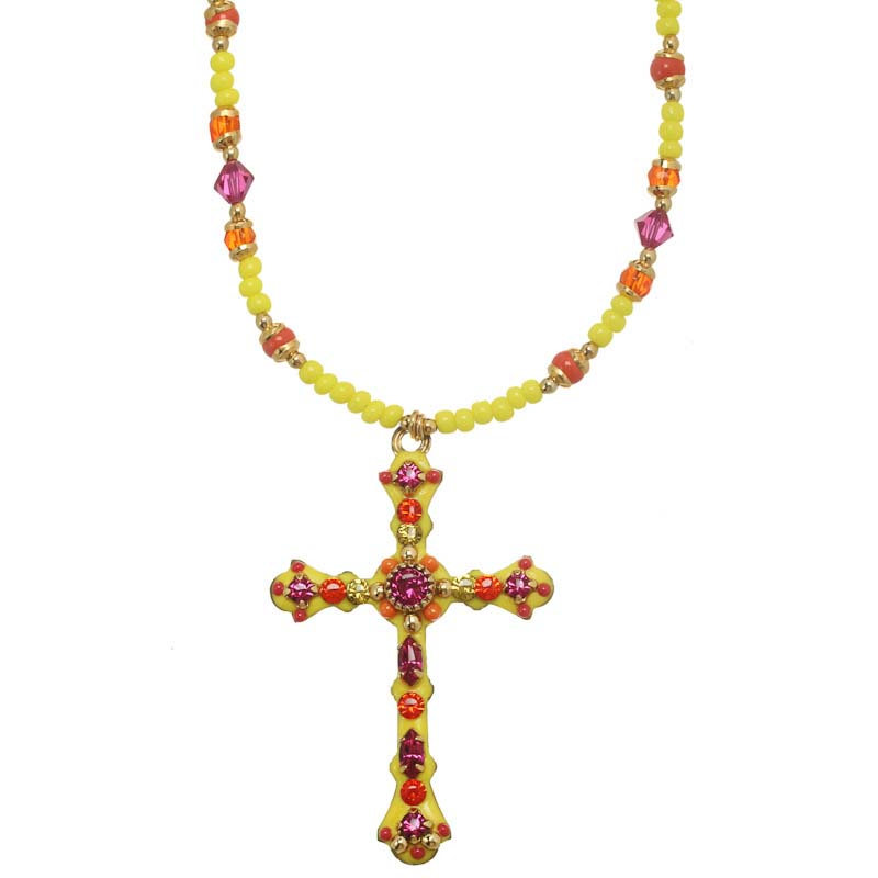 Yellow and Orange Cross Necklace