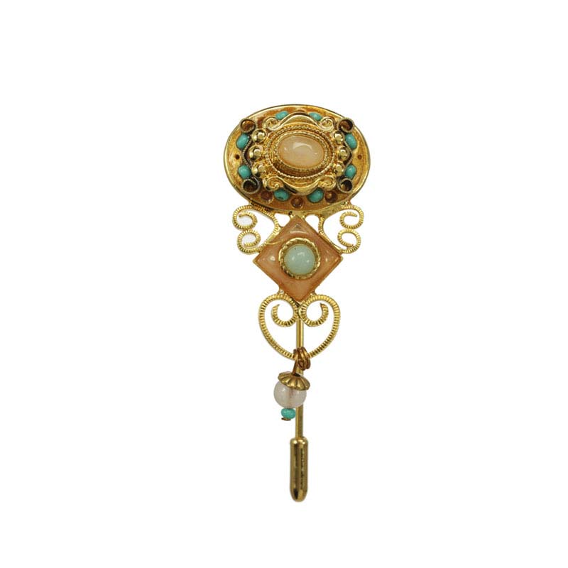 Vintage Michal Golan stick pin with Rose Quartz and turquoise