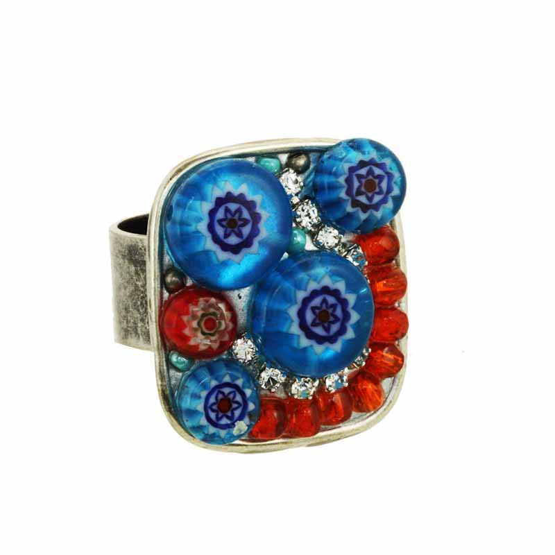 Square Blue and Red Millefiori Bead Ring