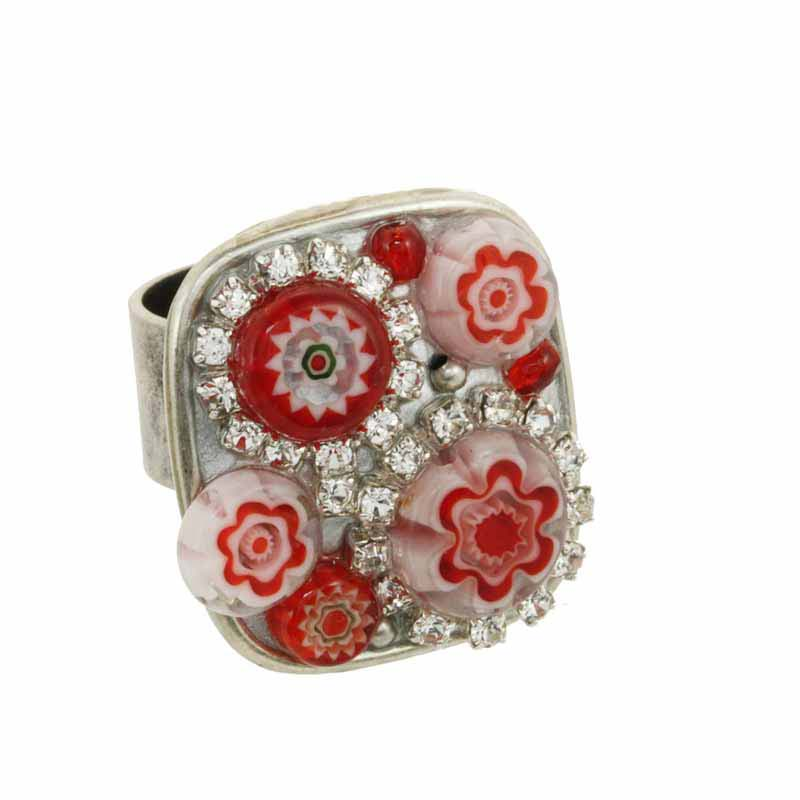 Square Red Millefiori Bead Ring