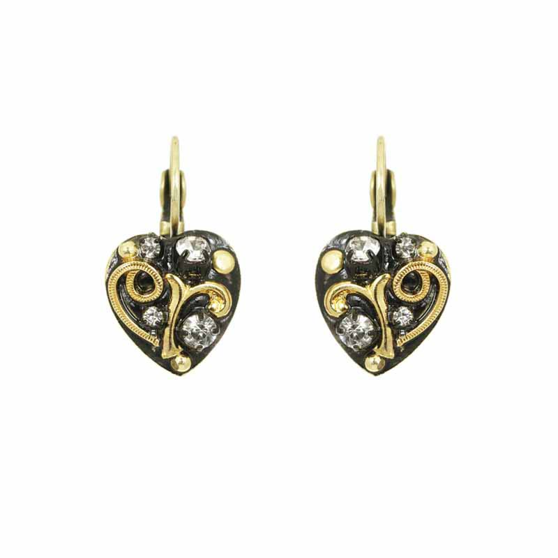 Small heart shaped lever back earrings