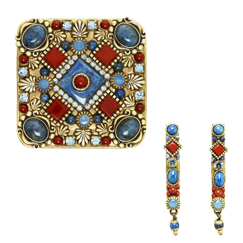 Sodalite and Carnelian Brooch and Earrings Set