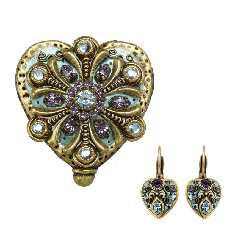Light blue and purple crystals heart shaped pin and matching earrings