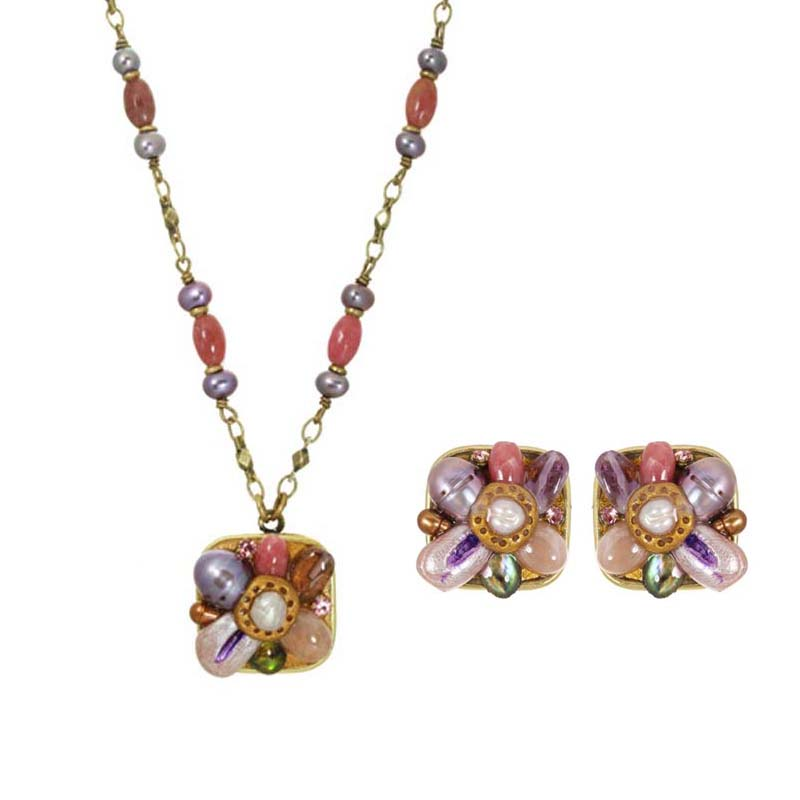 Moon flowers necklace & clip earrings set, handmade at Michal Golan studios USA