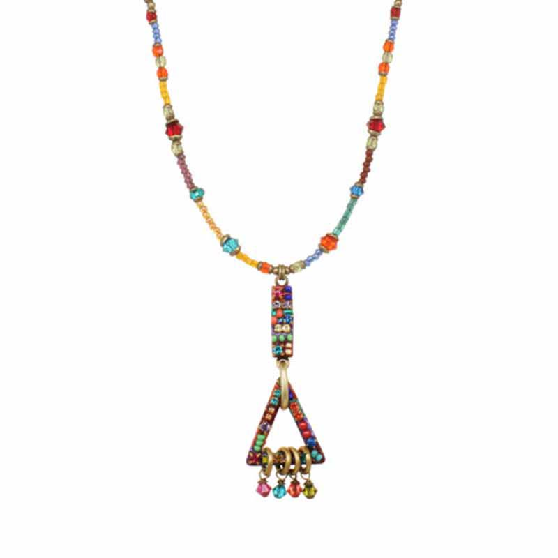 Open geometric pendants on beaded necklace, handmade at Michal Golan studios USA