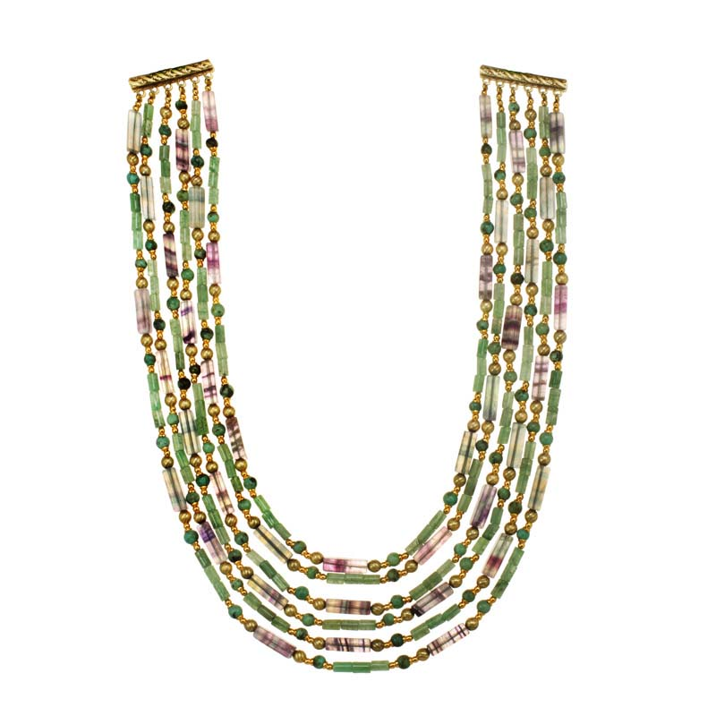 Multi-Layer Green & Purple Necklace