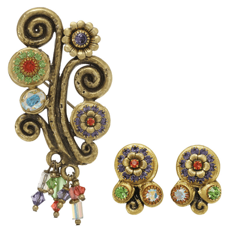 Enchanted Forest Pin and Clip Earring Set