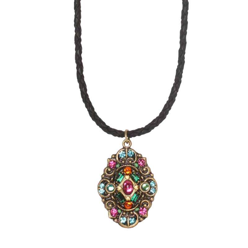 Prismatic Oval on Leather Necklace