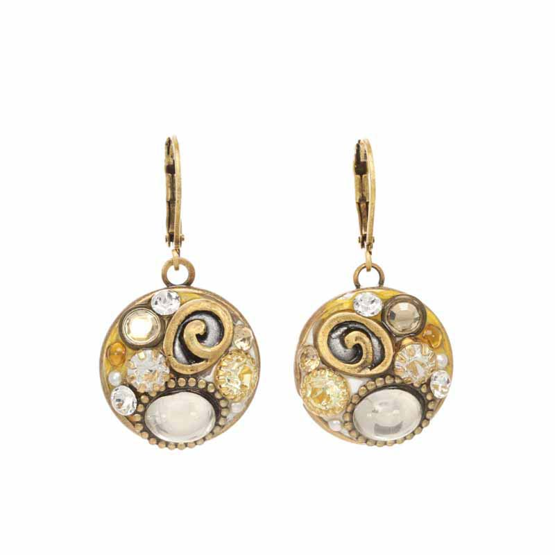 Champagne Round Earrings