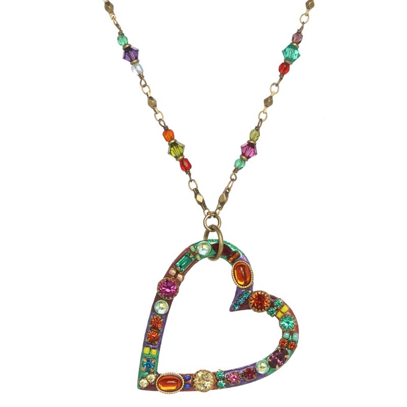 Multi-Bright Open Heart Necklace