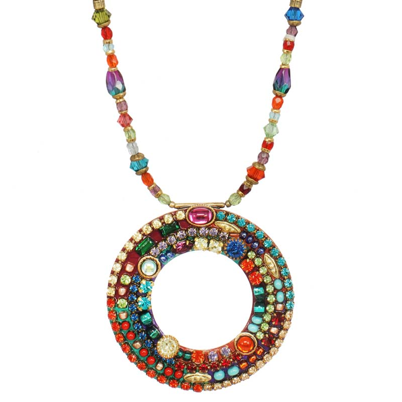 Multibright Open Circle Beaded Necklace