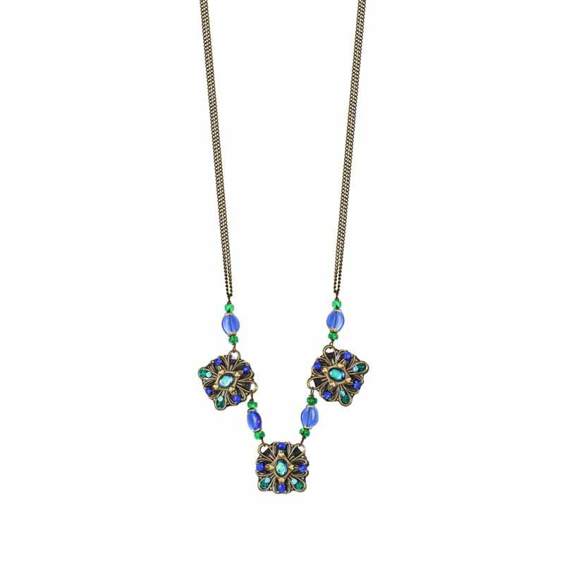 Peacock Squares Necklace