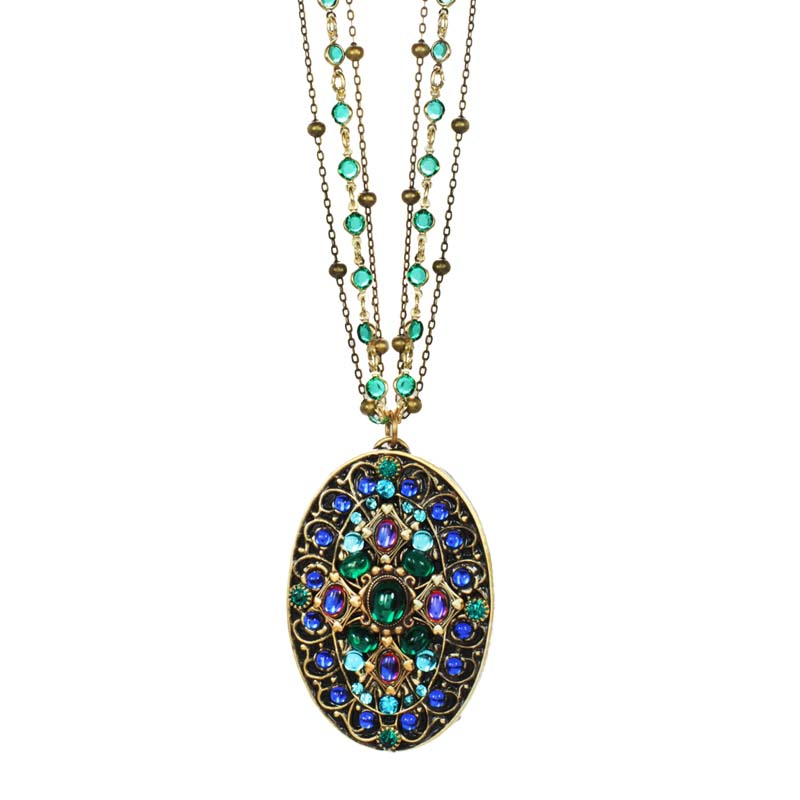 Peacock Oval Long Necklace