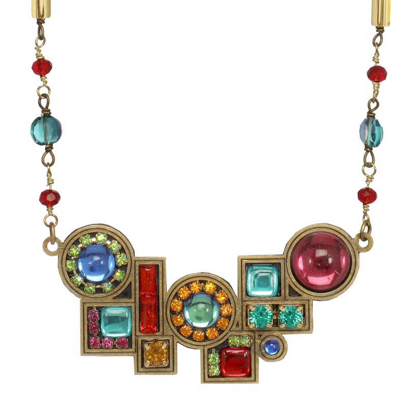 Multi Bright Abstract Horizontal Necklace