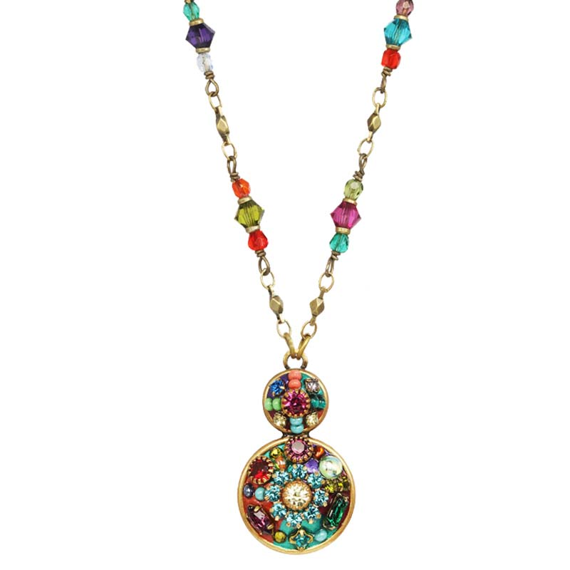 Multi Bright Double Circle Necklace
