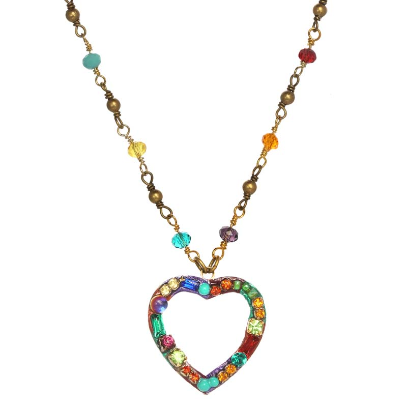 Multi Bright Small Open Heart Necklace