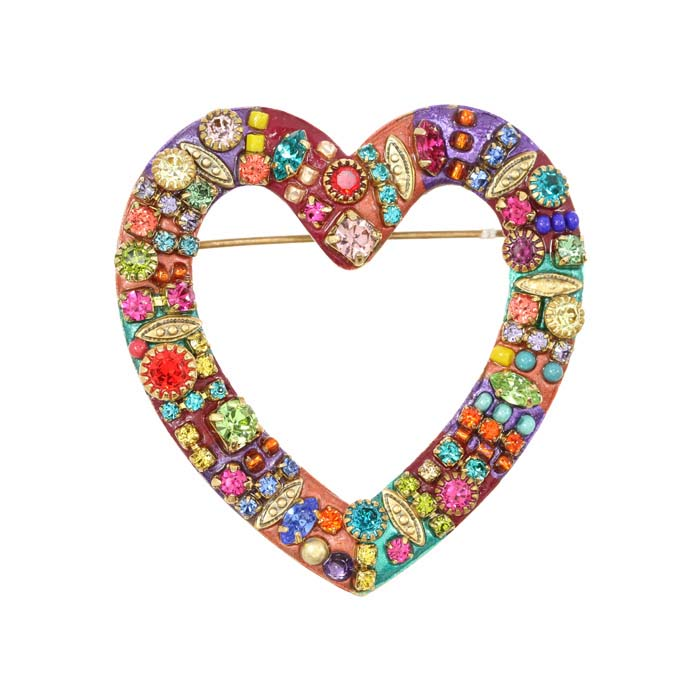 Multi-Bright Open Heart Pin