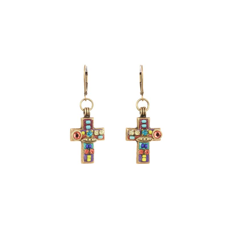 Multi-Bright Cross Earrings