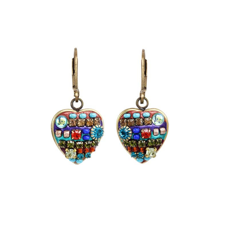 Multi-Bright Heart Earrings