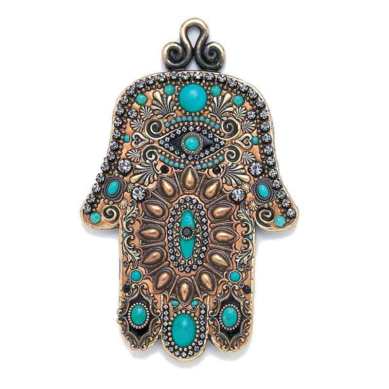 Gold and Turquoise Wall Hamsa